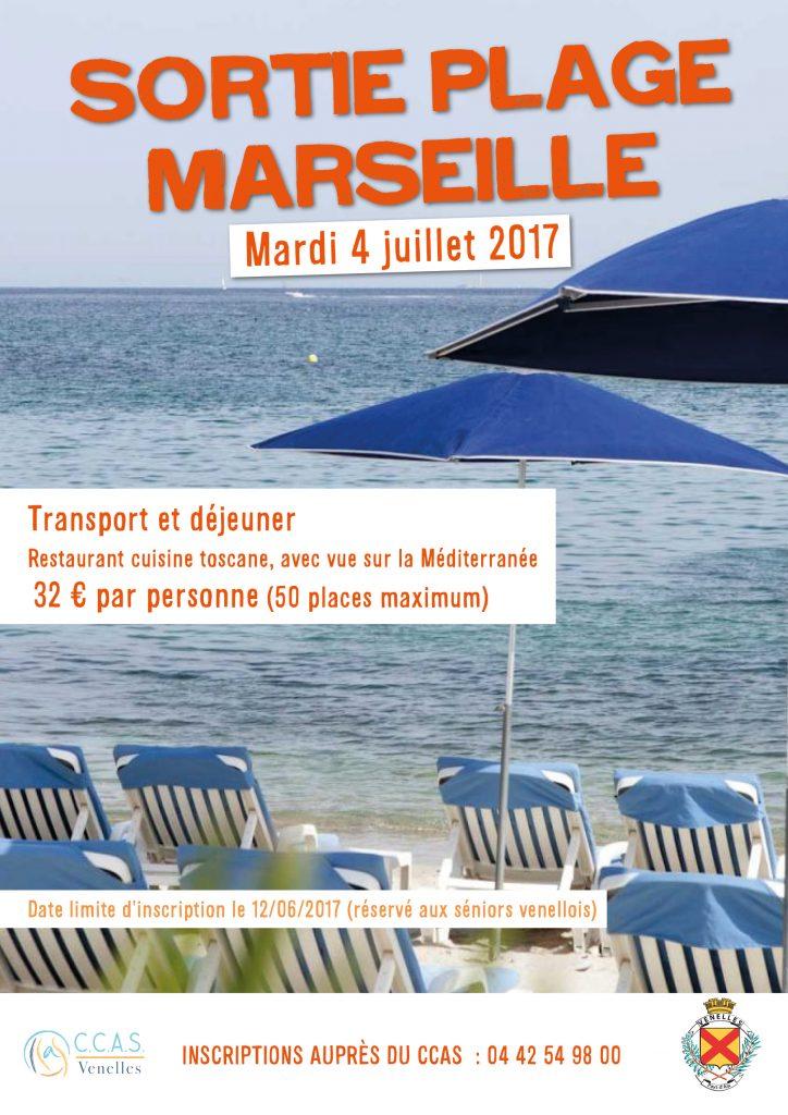 Affiche sortie plage Marseille du CCAS