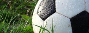 ballon de foot posé sur l'herbe mouillé par la rosée du matin