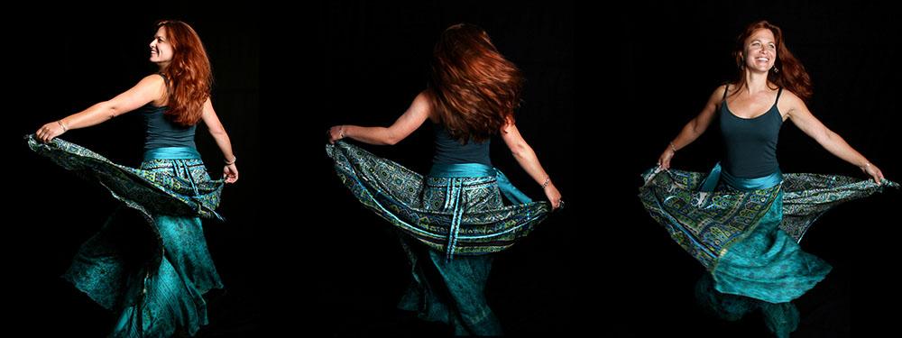 Photo de Darwich dansant tout de vert vêtue