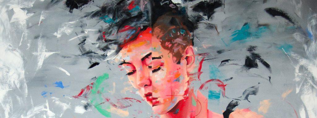 Peinture saccadée représentant le visage d'une femme pensive
