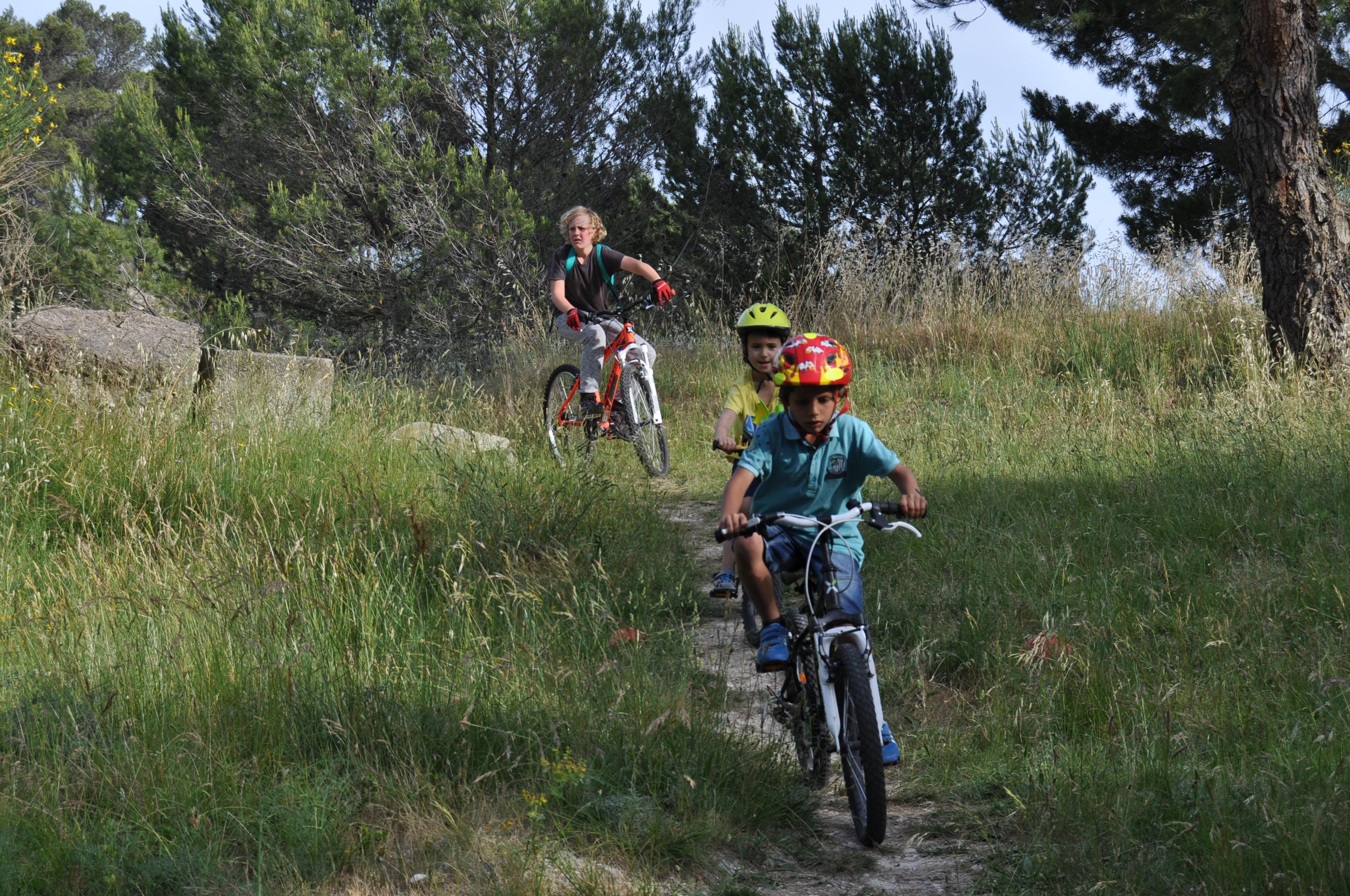 Photo de 3 enfants dévalant une piste cyclable entourée de verdure pour l'événement roule ta ville