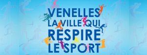 Venelles, la ville qui respire le sport ecrit sur fond bleu avec des personnages de couleurs en démonstrations sportive