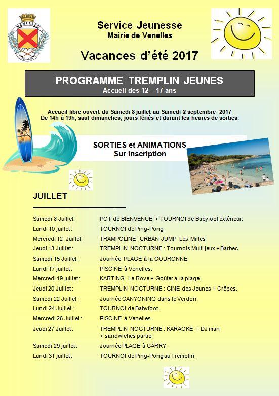 Programme de l'été 2017 du tremplin jeunes du service jeunesse
