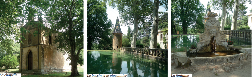 3 photos du domaine du Saint-Hippolyte : la chapelle, le bassin, le pigeonnier et la fontaine