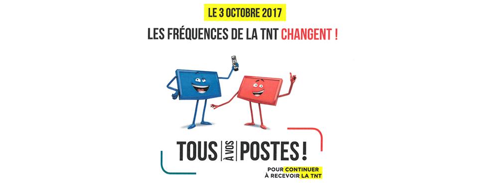 Illustration représentant 2 TV, une rouge et une bleu, avec des bras et un sourire pour indiquer le changement de fréquence de la TNT