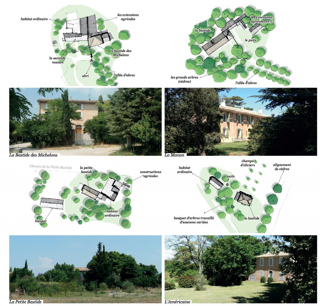 Plusieurs photos et dessins représentant la bastide des champs à Venelles
