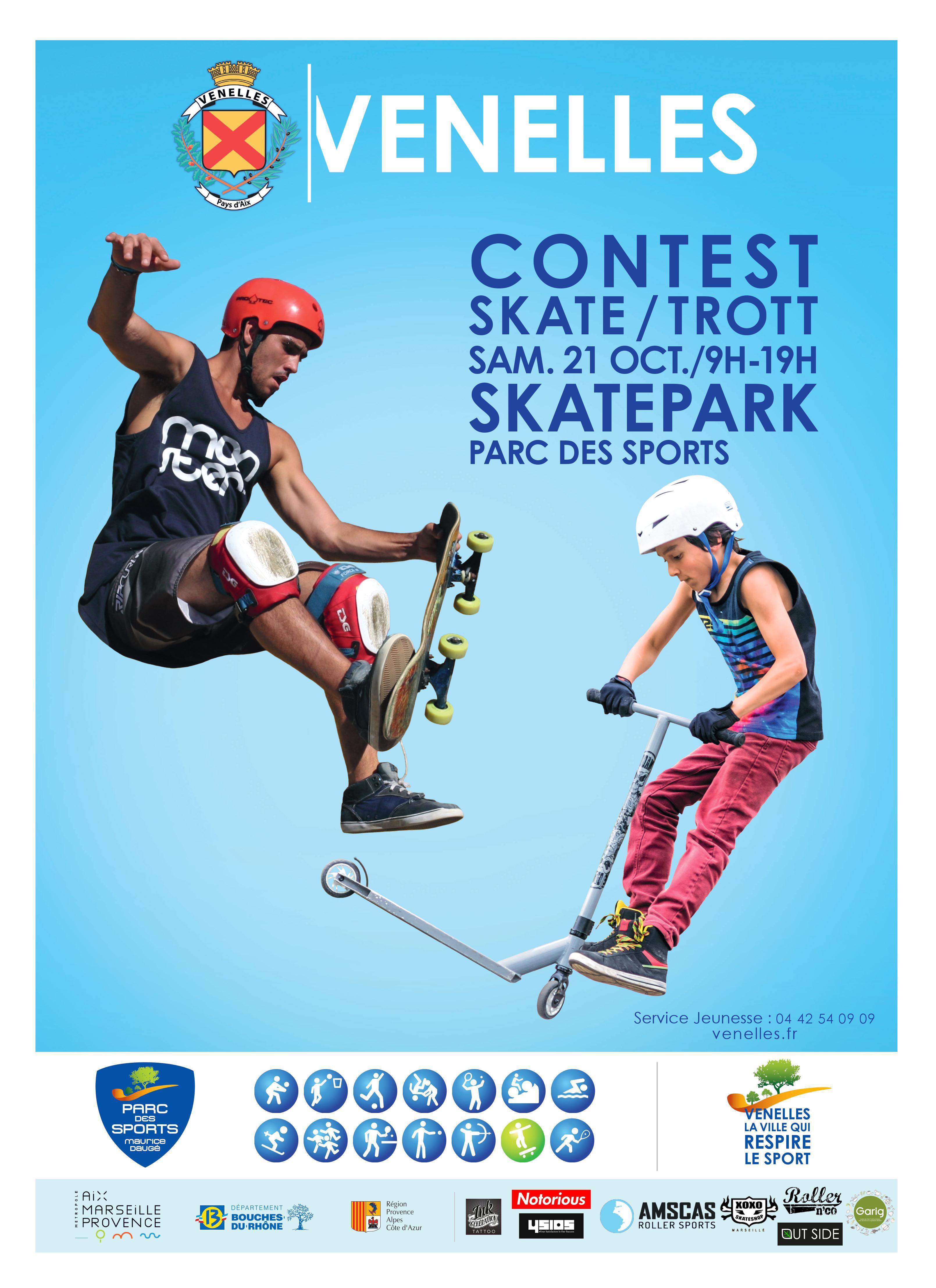 Affiche du skate contest édition 2017 représentant un statuer et un trotteur en train de faire des sauts