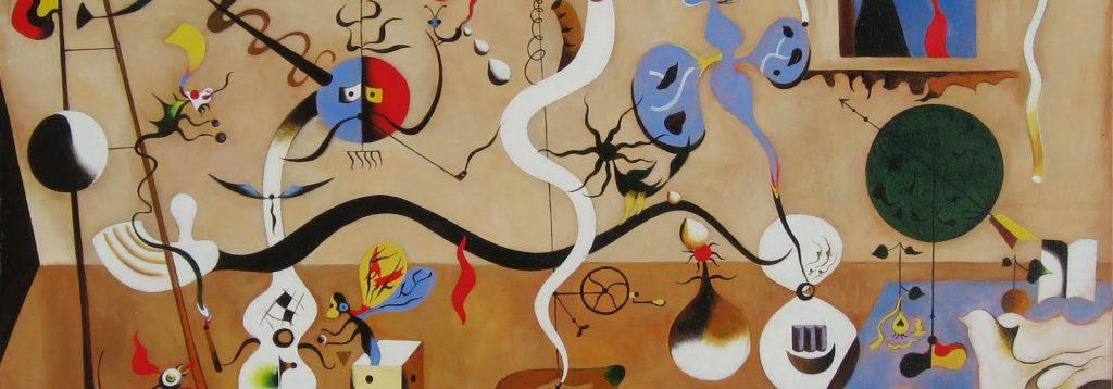 Peinture représentant des objets et des personnages posés dans une chambre en désordre : poisson, chats, insecte qui sort d'un dé, guitare, pelote de laine…
