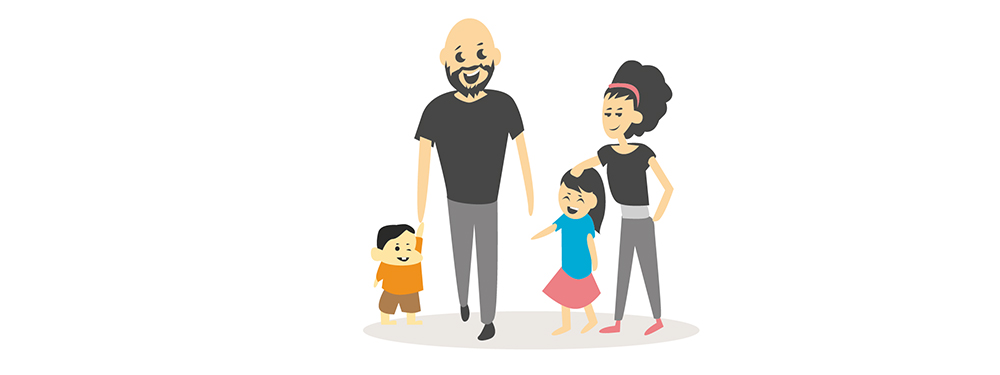 Illustration montrant une famille avec 2 enfants