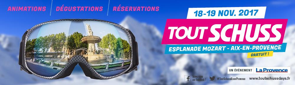 Affiche tout schuss montrant un masque de ski au mileu des montagnes enneigées avec comme reflet la rotonde à aix en provence