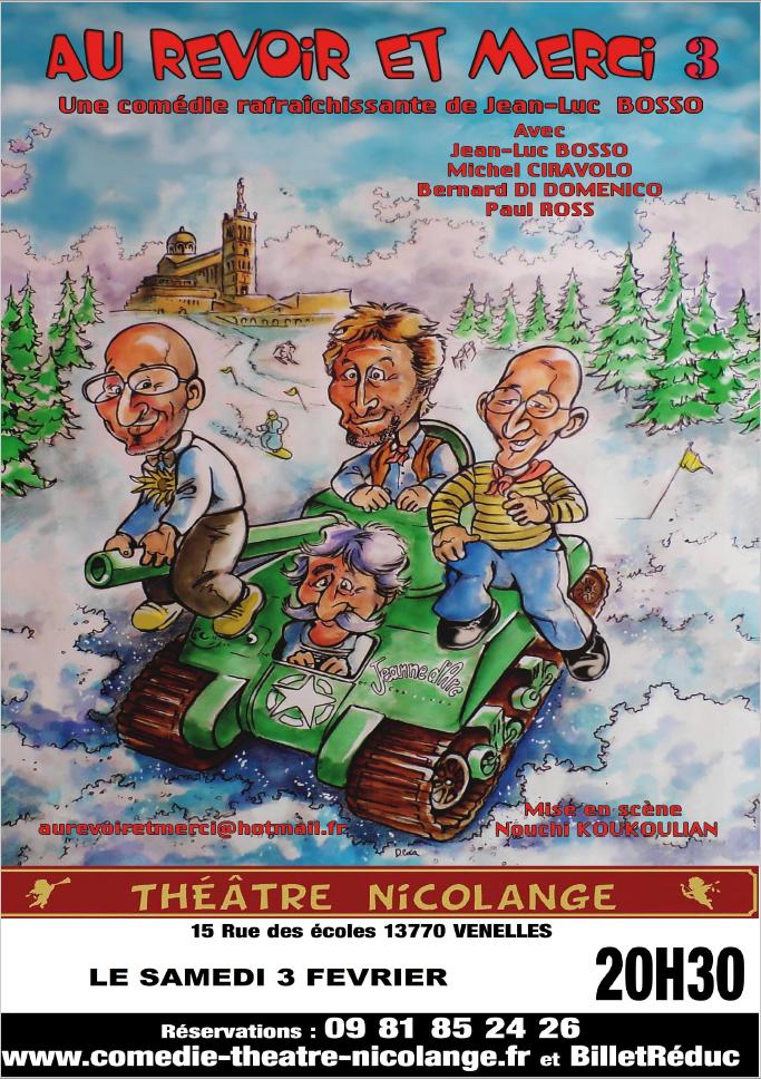 Affiche de la pièce de théâtre au revoir et merci 3