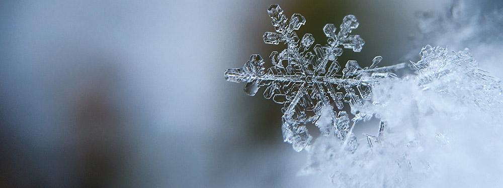 Photo d'un flocon de neige vu de près