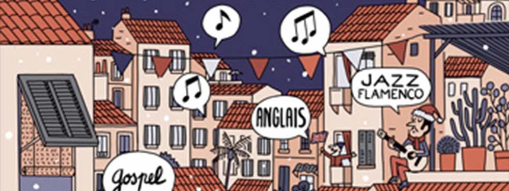 Illustration montrant des chanteurs aux fenêtres dans une ville