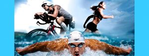 Photo d'un vététiste, nageur et une coureur en action