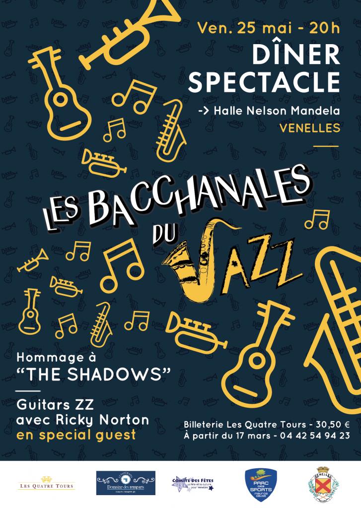 Affiche des bacchanales du jazz montrant une illustration avec des instruments de musique
