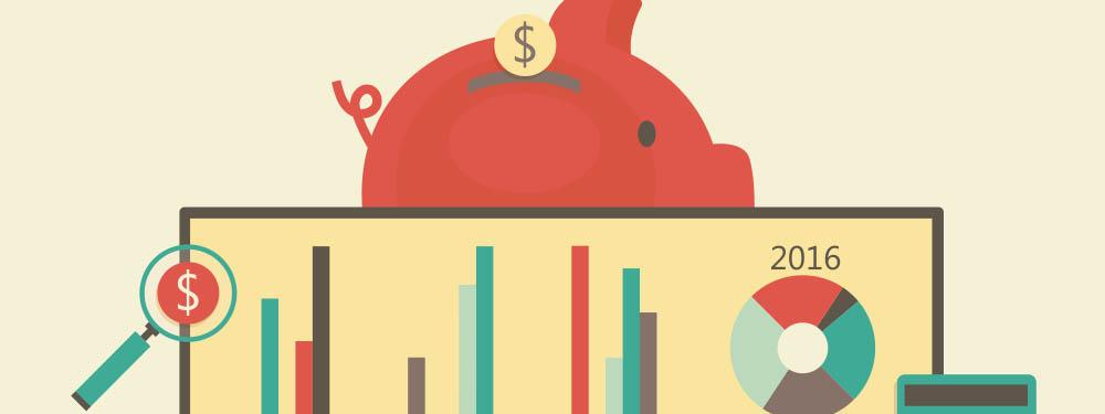 Illustration montrant un ordinateur avec des graphiques budgétaires et derrière une tirelire en cochon