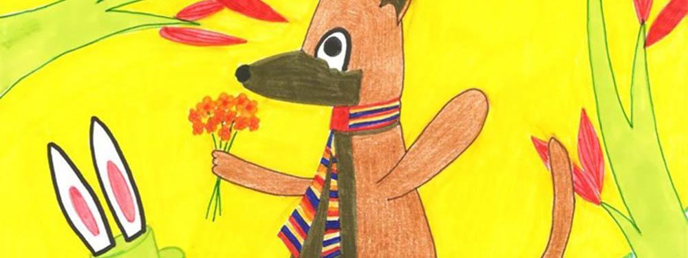 Dessin d'enfant illustrant un loup marchant dans la forêt avec un bouquet de fleurs à la main