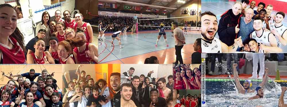 Compilation de photos des équipes gagnantes en sport collectif du week end du 17 mars : volley, basket, waterpolo