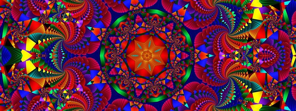 Illustration avec des mandalas de toutes les couleurs