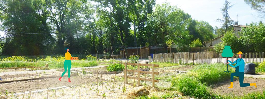 Photo du potager partagé de la Touloubre avec des petites illustrations de personnages en train de jardiner