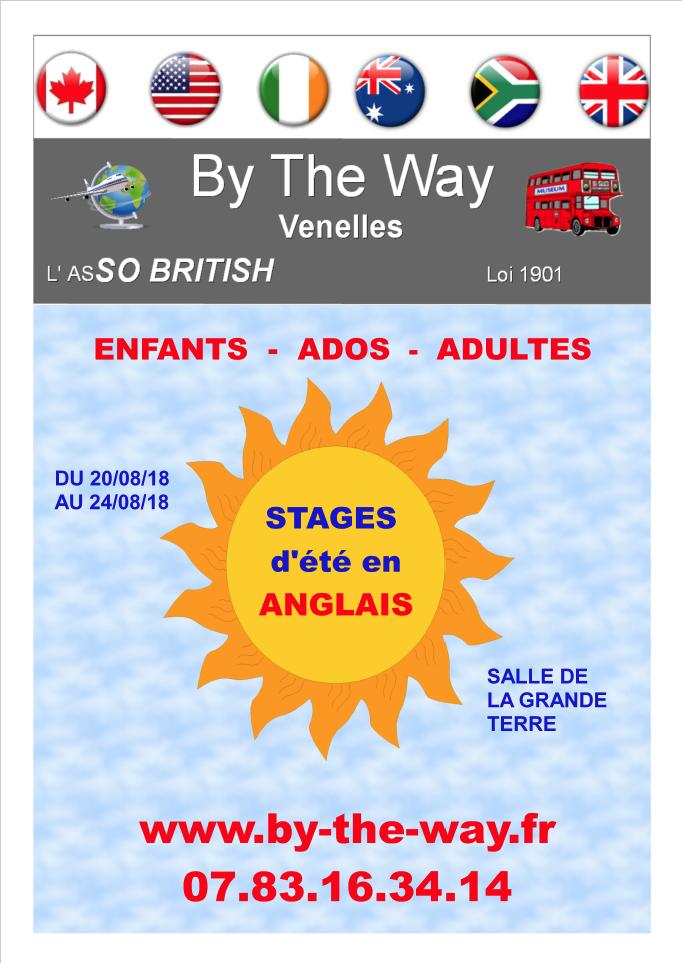 Affiche des stages d'anglais de l'association venelloise By the way pour les mois d'été