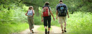 Photo de 3 randonneurs de dos en train de marcher sur un sentier