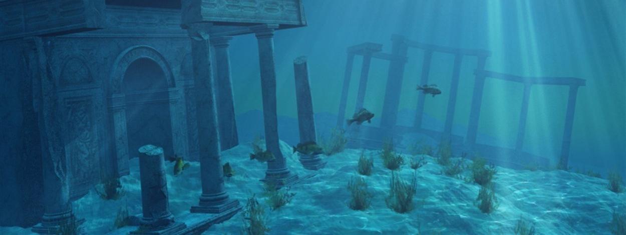 Illustration représentant l'île mythique de l'Atlantide au fond de l'océan