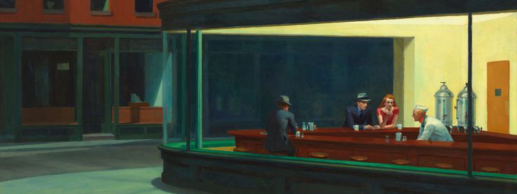 Peinture d'Edward Hopper représentant un serveur et 2 hommes et une femme accoudés à un bar