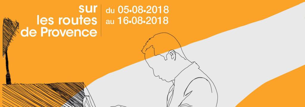 """Illustration montant un pianiste réalisé au trait avec les date de la tournée """"Sur les routes de provence"""""""