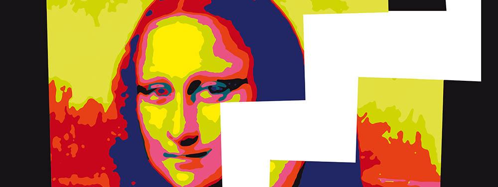 Peinture de la Joconde remasterisée avec des couleurs pop surplombée d'un zigzag sous forme d'escaliers blanc