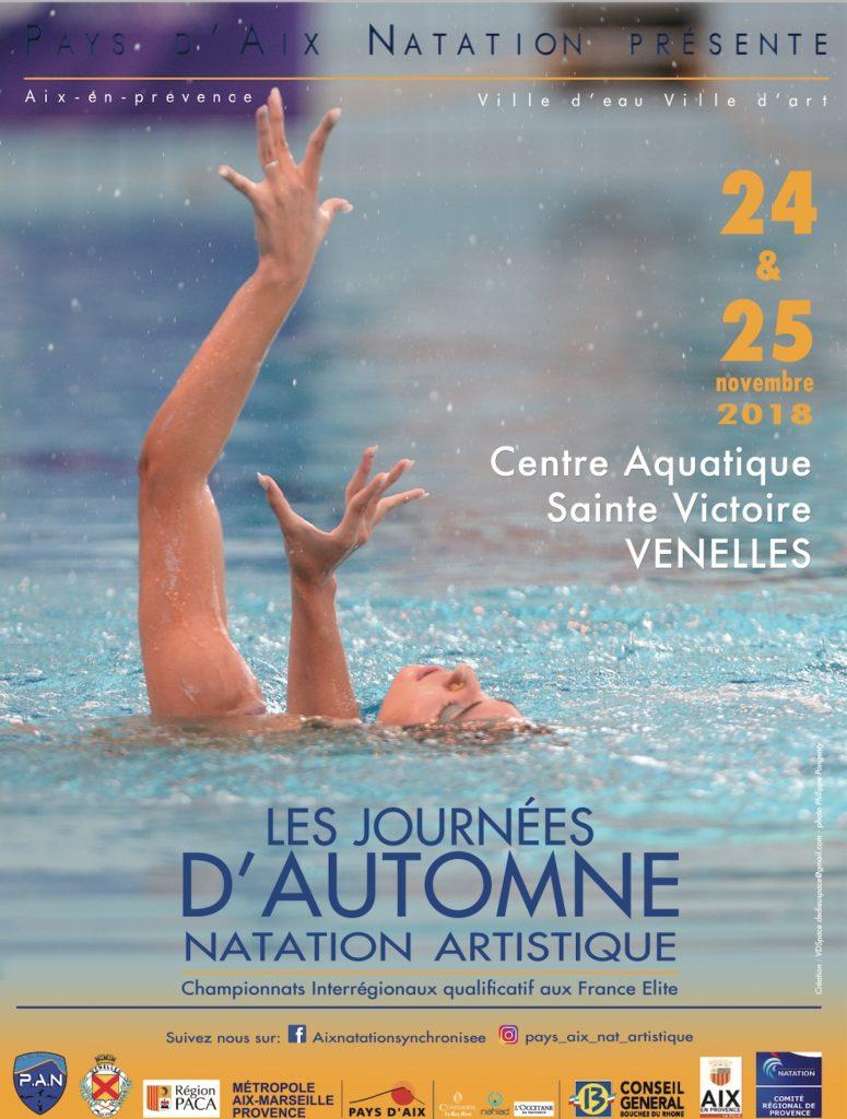 Affiche des journées d'automne de natation artistique du PAN