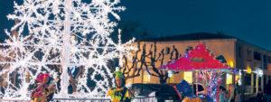 Photo montrant l'arbre de Noël en illumination situé sur la place Marius Trucy
