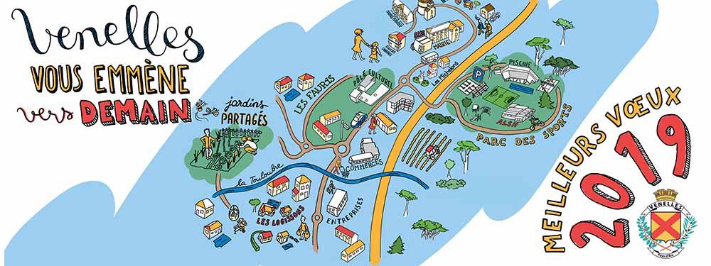 Carte de voeux 2019 de Venelles - Venelles vous emmène vers demain