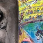 Photo de 2 tableaux de Chagall, l'un en noir et blanc et le second en couleurs