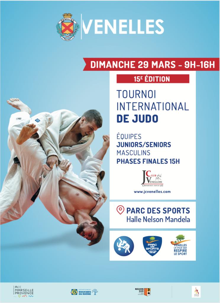 Affiche du tournoi international de judo 2017 représentant 2 judokas en train de combattre