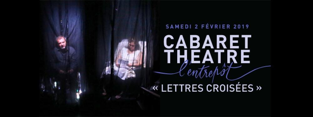 """Affiche cabaret théatre de l'entrepôt """"lettres croisées"""""""
