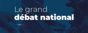 image sur fond bleu avec une ligne bleu, blanc,rouge et logo Grand débat national