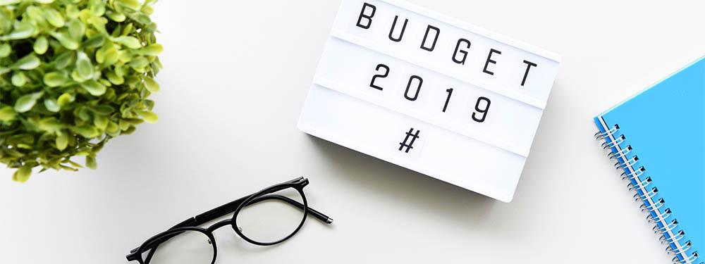 """Photo montrant un bureau vu de haut avec une plante, une paire de lunettes, un cahier et un panneau où est inscrit """"budget 2019"""""""