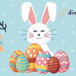 Affiche de la chasse aux oeufs montrant une illustration de lapin avec des oeufs en chocolat devant lui