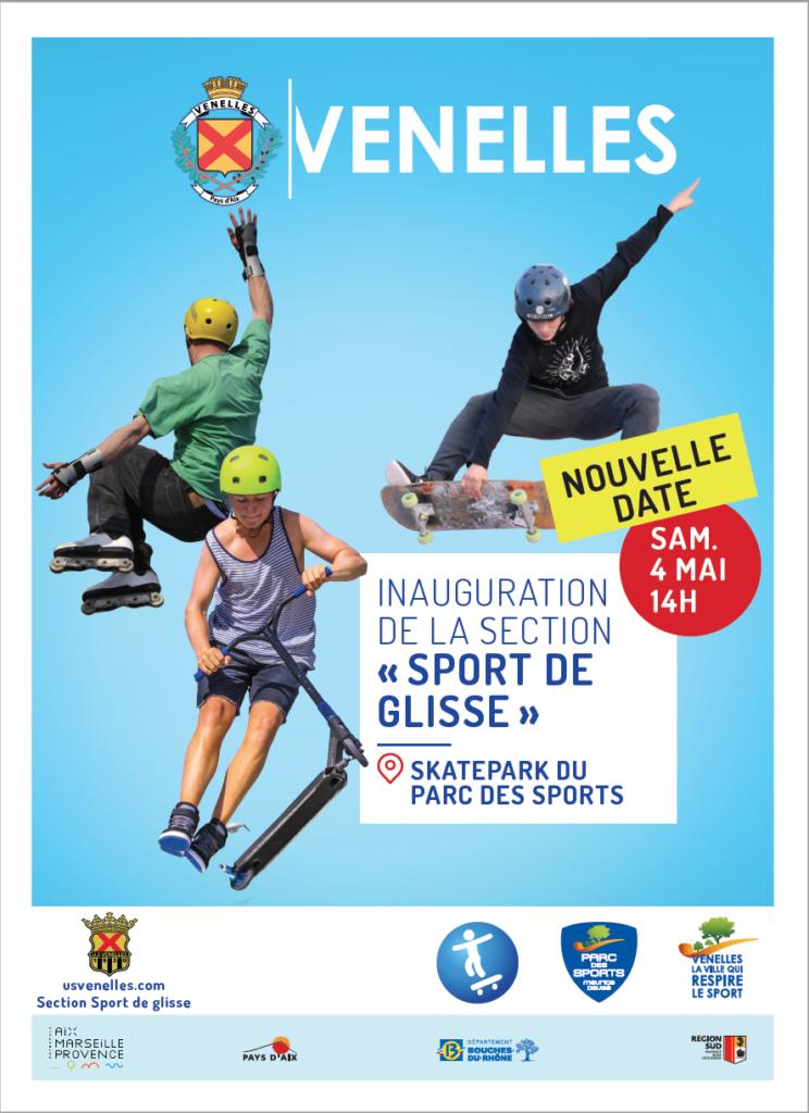 Affiche de l'inauguration de la section sport de glisse de l'USV