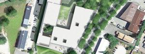 Vue 3D vue du dessus du futur Pole culturel