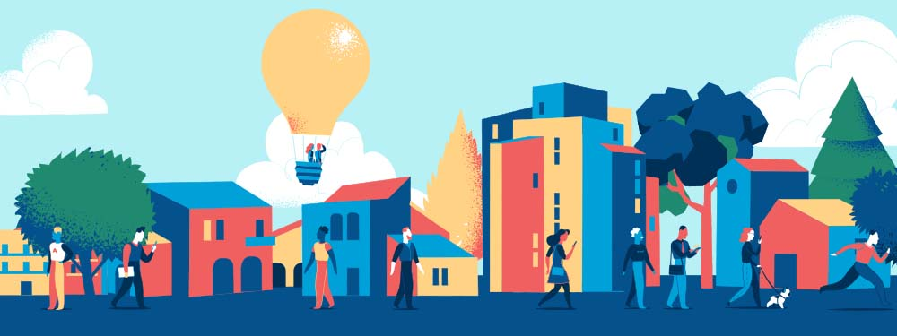 Illustration montant une ville moderne