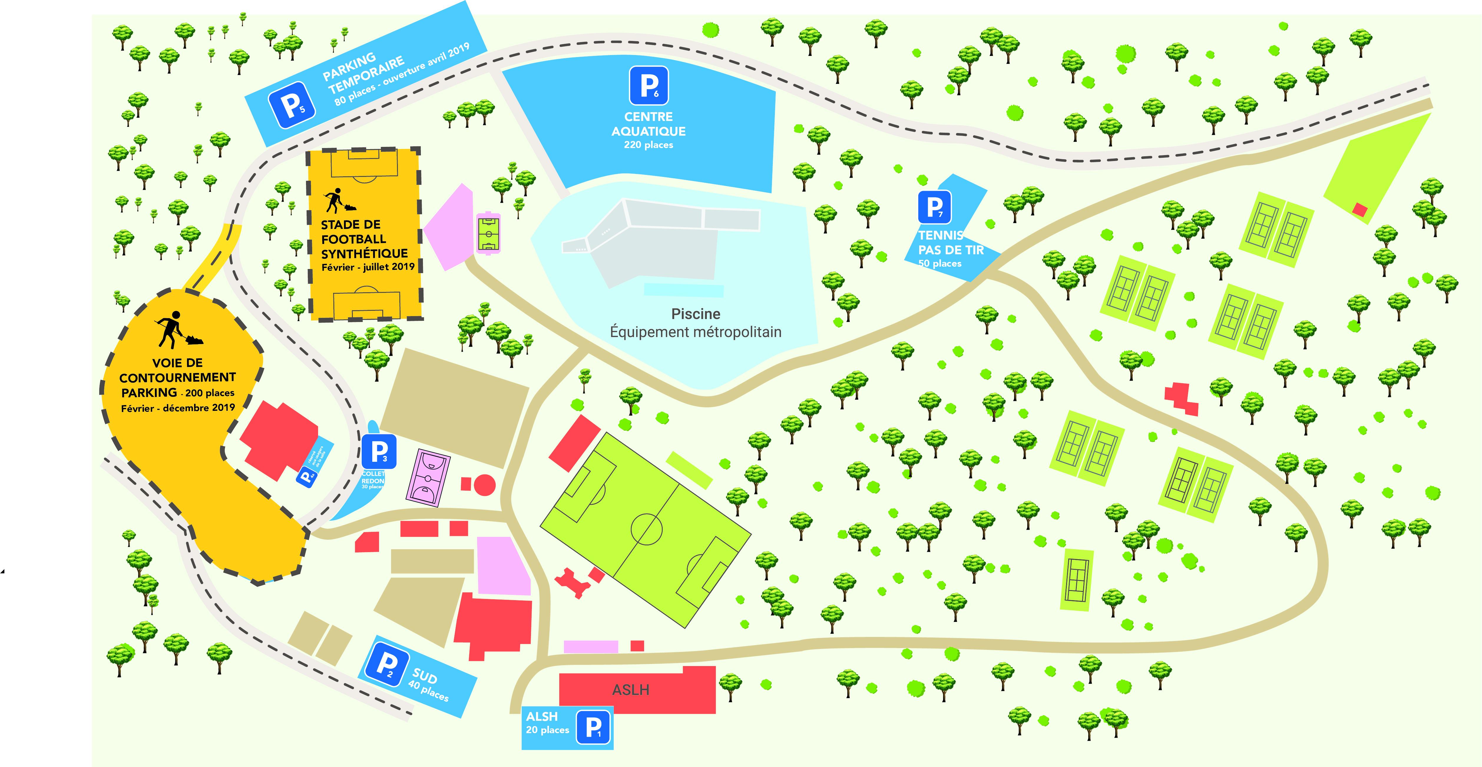 Plan montrant les travaux du Parc des sports et les possibilités de se garer pendant cette période