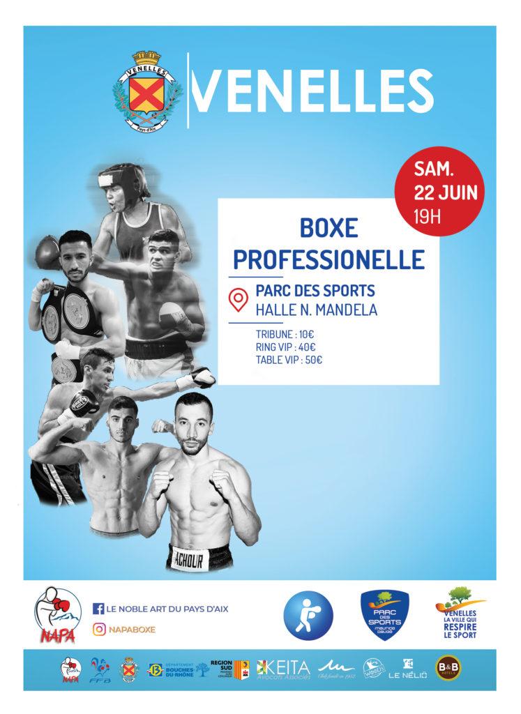 Affiche du gala de boxe professionnel du NAPA