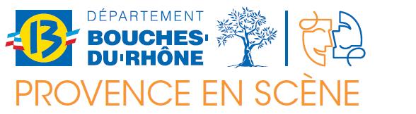 Logo de bouches de Provence en scène représentant le logo du département des bouches du rhône et des masques de théatre
