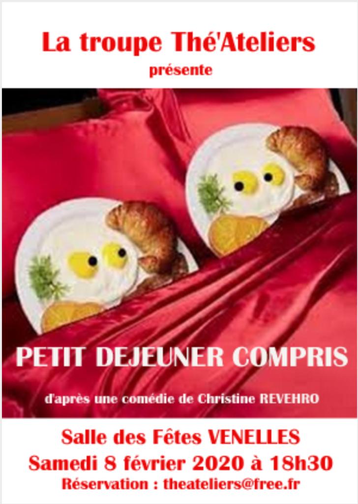 Affiche de la troupe Thé'Ateliers pour leur pièce petit déjeuner compris