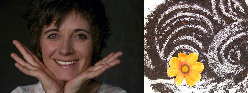 2 photos de la compagnie l'air de dire avec : 1 portrait de l'artiste et 1 photo de terre posée sur une table avec une grosse fleur jaune