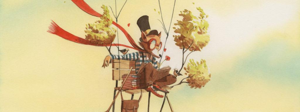 Illustration représentant un renard dans une montgolfière. Il est vêtu de lunettes d'aviateur, d'un haut de forme et un d'un tee shirt à rayures.