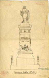 Croquis du monument aux morts 14-18 par Henri Barnier, sculpteur