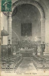 Photo de l'Eglise de Venelles le haut avec vue sur l'intérieur de la nef et vue du choeur
